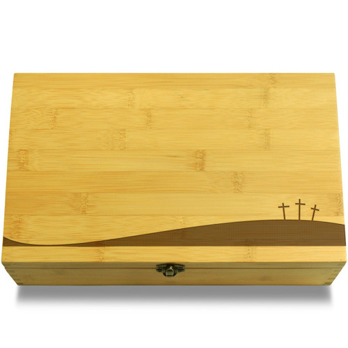 Three Crosses on Hill for Easter Chest Lid