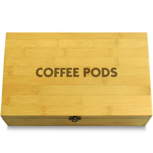 Coffee Pods Decorative Bamboo Wood Multikeep Box Adjustable Chest