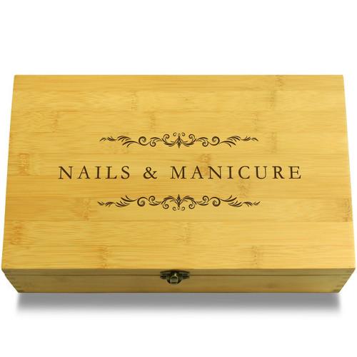 Fake Nails Organizer Wooden Chest Lid