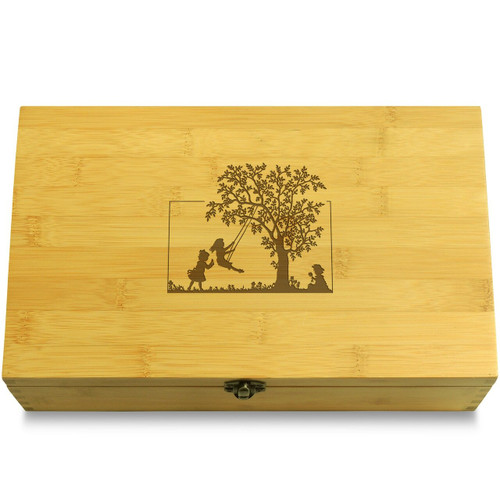Three kids and a tree swing Chest Lid