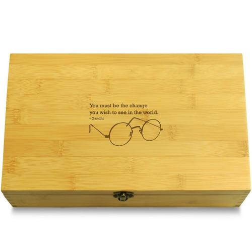Gandhi Glasses Wooden Chest Lid