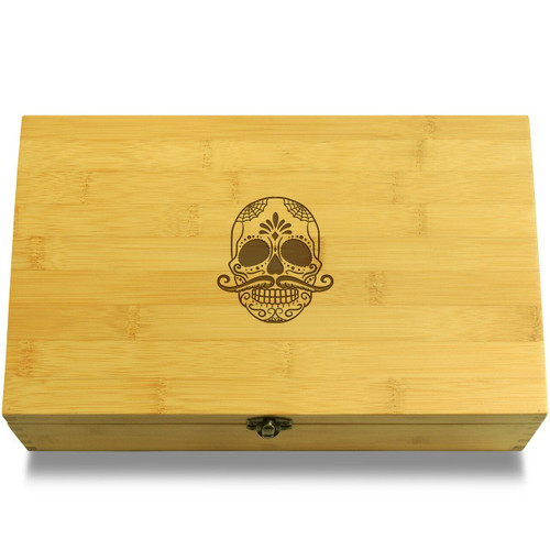 Day of Dead Mustache Skull Wood Chest Lid