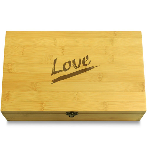 Love Quick Text Wooden Box Lid