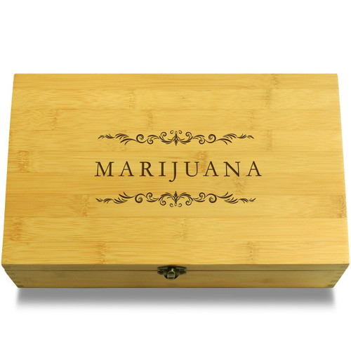 Marijuana Filigree Wooden Chest Lid