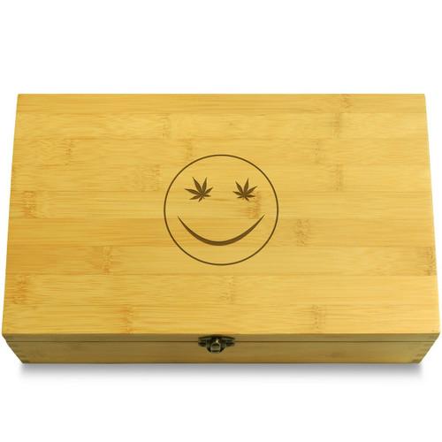Smily Face Marijuana Wooden Chest Lid