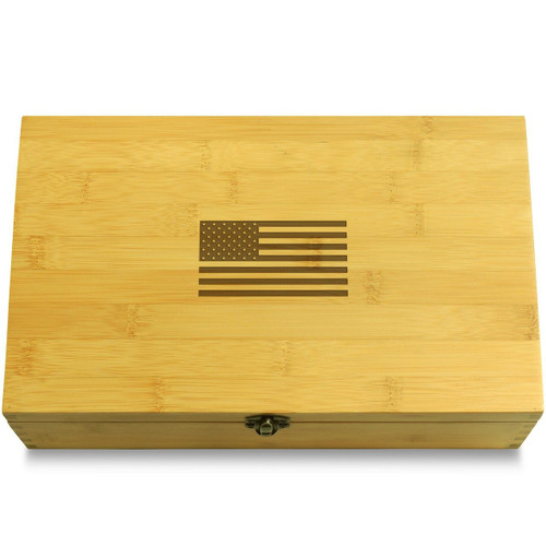 US Flag Wooden Chest Lid