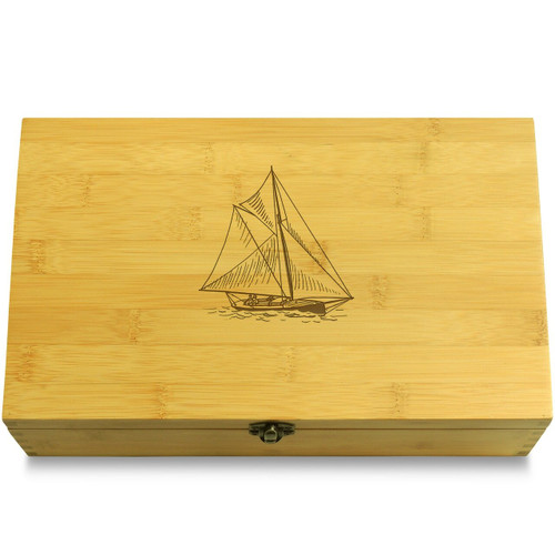 Sailing Ship Wooden Chest Lid