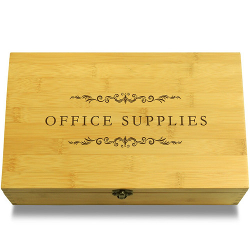 Office Supplies Filigree Wood Chest Lid