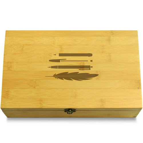 Pens (repeat pattern) Wooden Chest Lid
