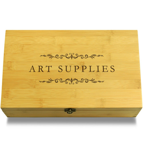 Art Supplies Filigree Wood Chest Lid
