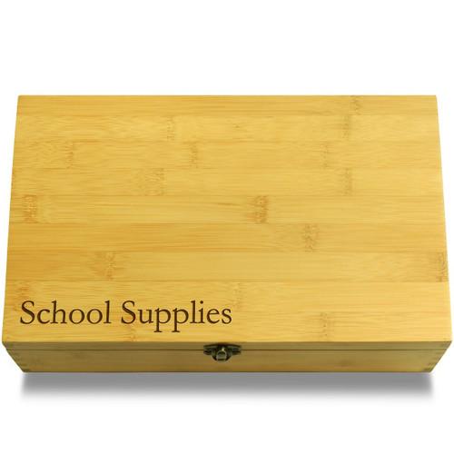 School Supplies Wooden Chest Lid