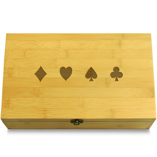Poker Card Symbols Wooden Box Lid