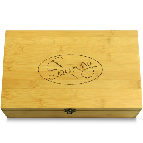 Sewing Needle Wood Chest Lid