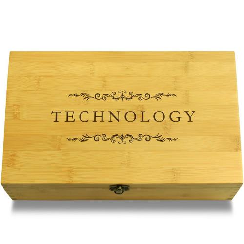 Technology Filigree Wood Chest Lid