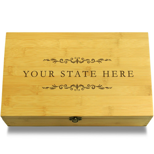 Your State Filigree Wooden Chest Lid