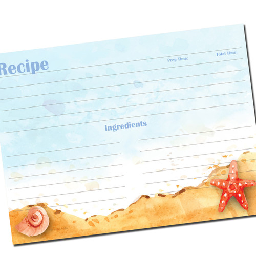 5x7 Recipe Card Seaside for Full Page Binders 20ea