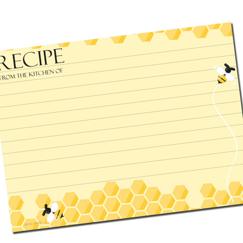 5x7 Beehive Recipe Card for Larger Recipe Binders 40ea