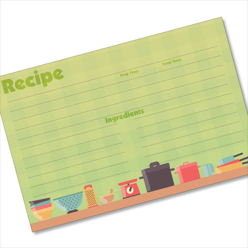 4x6 Recipe Card Pots and Pans Green 40ea