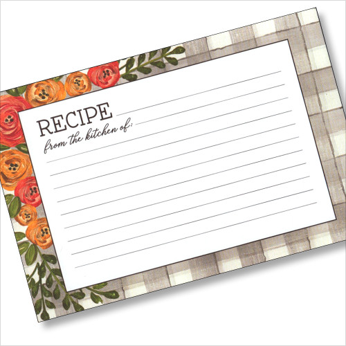 4x6 Recipe Card -Floral 36ea