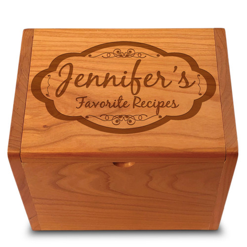 Moderna Cherry Personalized 4x6 Recipe Card Box