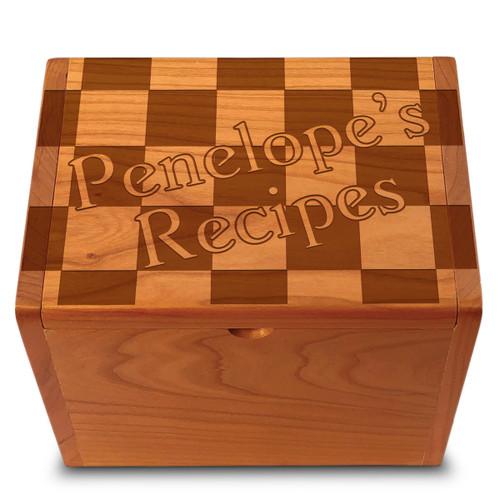 Checkers Cherry Personalized 4x6 Recipe Card Box