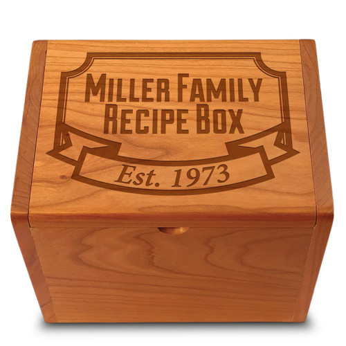 Banner Year Cherry Personalized 4x6 Recipe Card Box