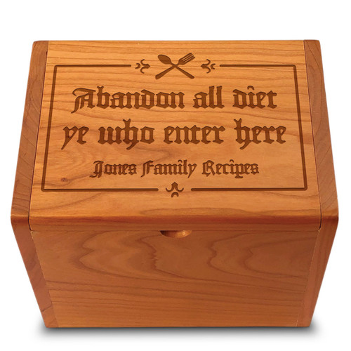 Gutenberg Cherry Personalized 4x6 Recipe Card Box