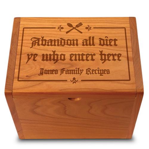 Gutenberg Cherry Personalized 4x6 Recipe Card Box