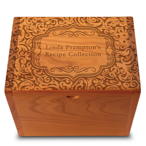 Paisley Collection Cherry Personalized 4x6 Recipe Card Box