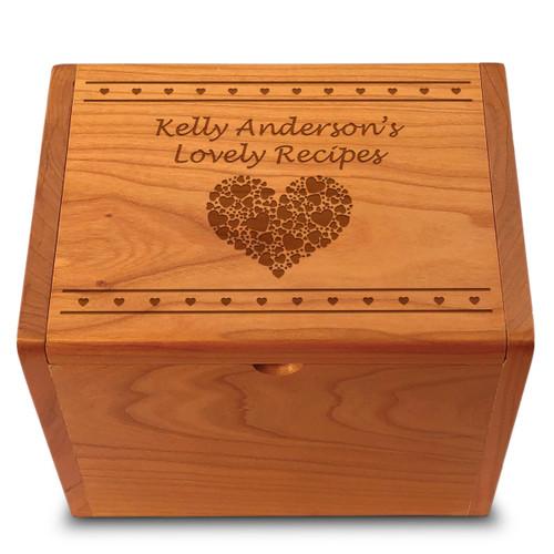 Valentina Cherry Personalized 4x6 Recipe Card Box