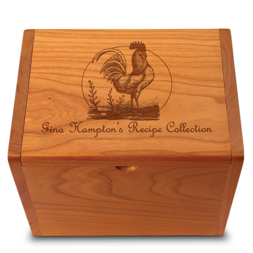 Rooster Collection Cherry Personalized 4x6 Recipe Card Box