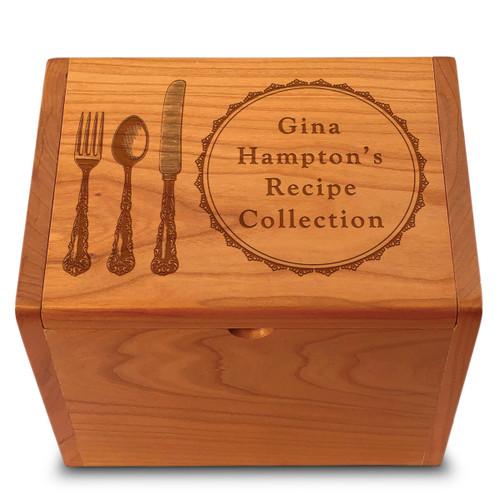 Collection Silverware Cherry Personalized 4x6 Recipe Card Box