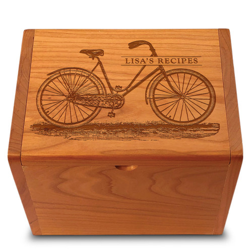 Collection Bicycle Cherry Personalized 4x6 Recipe Card Box