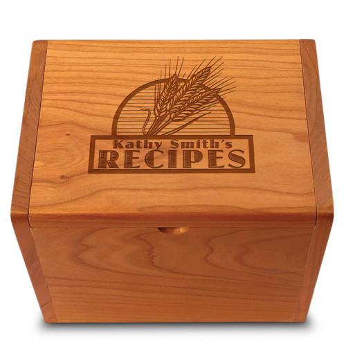 Collection Wheat Grain Cherry Personalized 4x6 Recipe Card Box