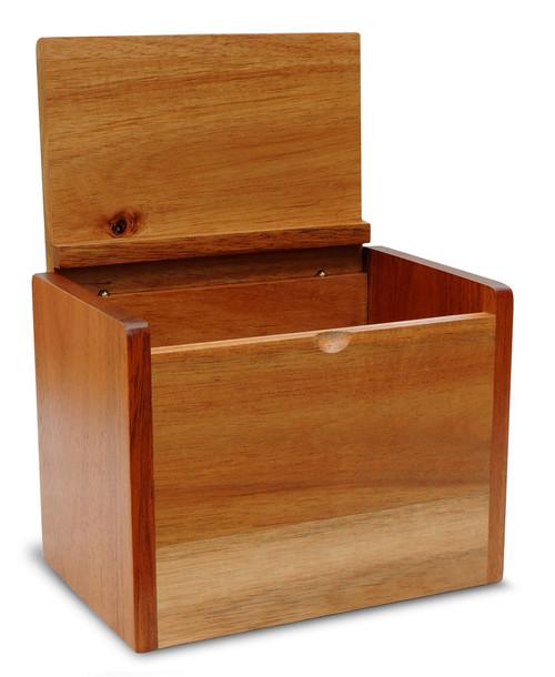 4x6 Unengraved Acacia Recipe Card Box