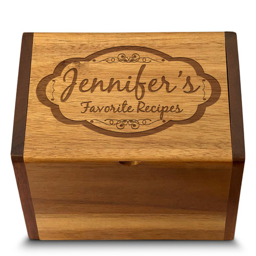 Moderna Acacia Personalized 4x6 Recipe Card Box