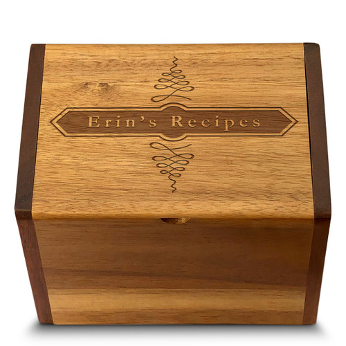 Apothecary Acacia Personalized 4x6 Recipe Card Box