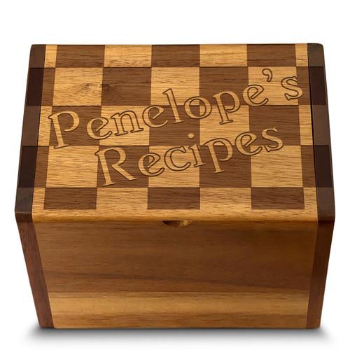 Checkers Acacia Personalized 4x6 Recipe Card Box