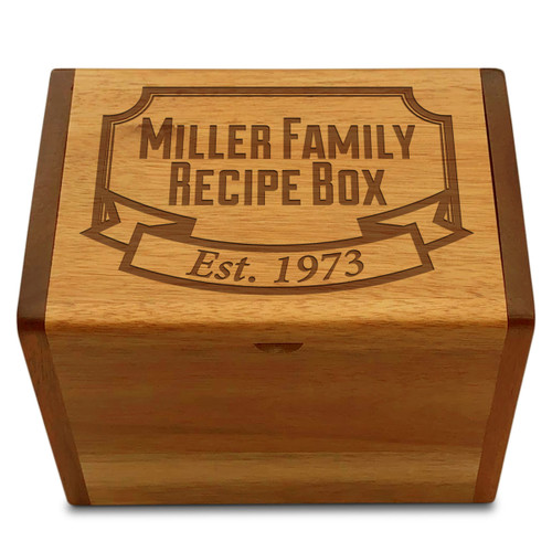 Banner Year Acacia Personalized 4x6 Recipe Card Box