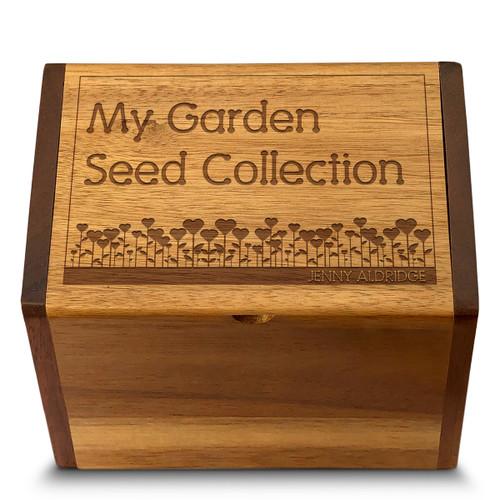 Garden Love Acacia Personalized 4x6 Recipe Card Box