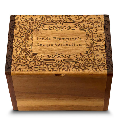 Paisley Collection Acacia Personalized 4x6 Recipe Card Box