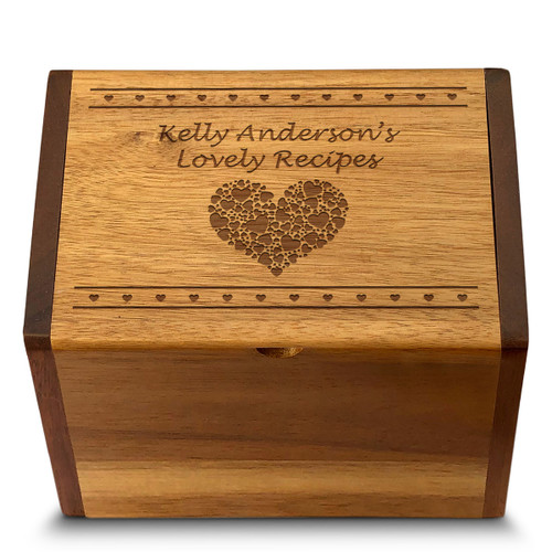 Valentina Acacia Personalized 4x6 Recipe Card Box