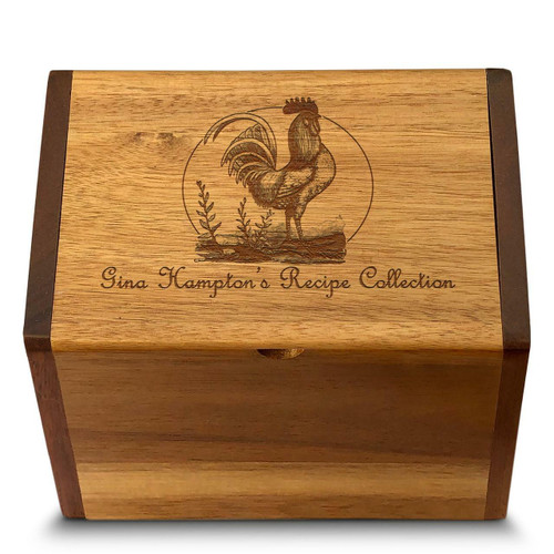 Cookbook People Rooster Collection Acacia Personalized 4x6 Recipe Card Box