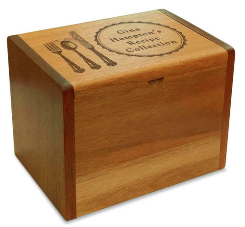 Cookbook People Collection Silverware Acacia Personalized 4x6 Recipe Card Box