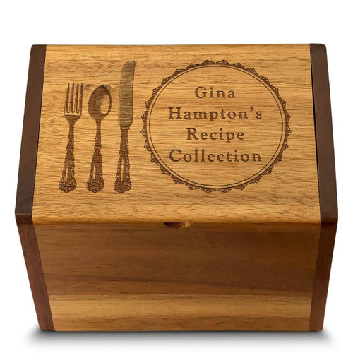 Cookbook People Collection Silverware Acacia Personalized 4x6 Recipe Card Box
