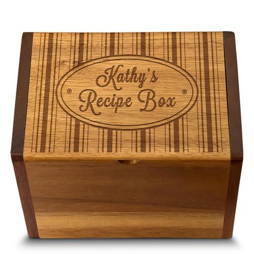 Collection Hat Box Acacia Personalized 4x6 Recipe Card Box