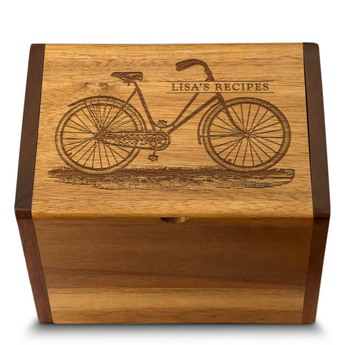 Cookbook People Collection Bicycle Acacia Personalized 4x6 Recipe Card Box