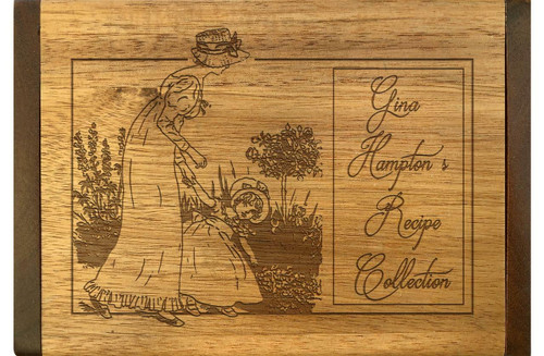 Cookbook People Collection Mother and Daughter Acacia Personalized 4x6 Recipe Card Box