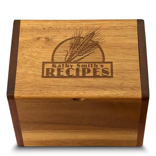 Cookbook People Collection Wheat Grain Acacia Personalized 4x6 Recipe Card Box