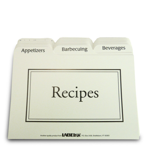 "4x6"" Recipe Box Tabbed Recipe Card Dividers - 24 ea"